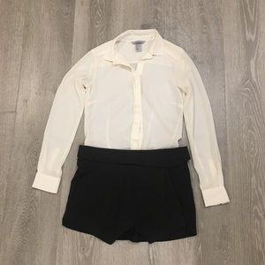 Zara Basic Black Pointed Formal Skort Zip Up Back